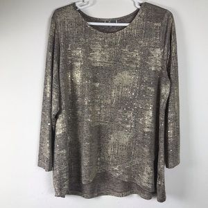 JM Collection plus size gold top with silver 3X